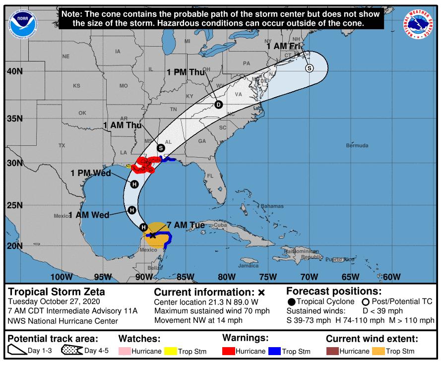 Tropical Storm Zeta probable path.