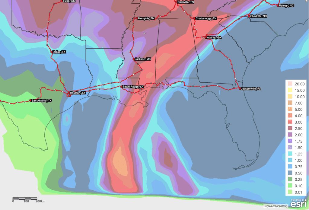 Tropical Storm Zeta landfall zone map.