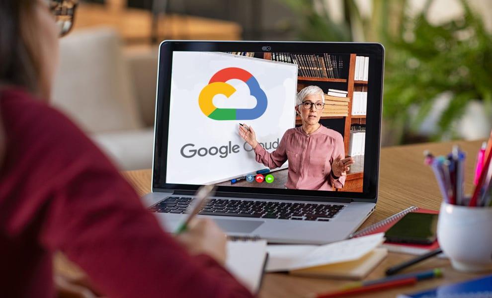 Google Cloud Platform image on a laptop